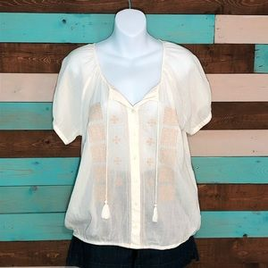 NEW Gap Cotton Gauze Embroidered Peasant Top